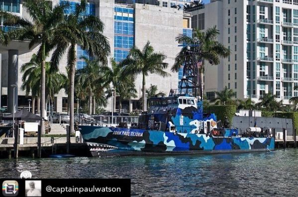 The M/V John Paul DeJoria shortly after its induction into the Sea Shepherd fleet. Photo via Instagram.