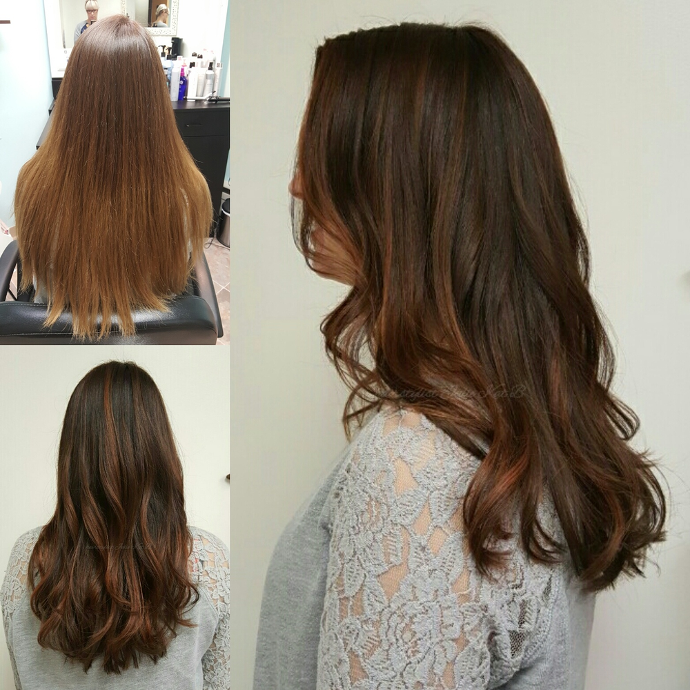 A deeper color with warm balayage from Julie Jardine-Bianco
