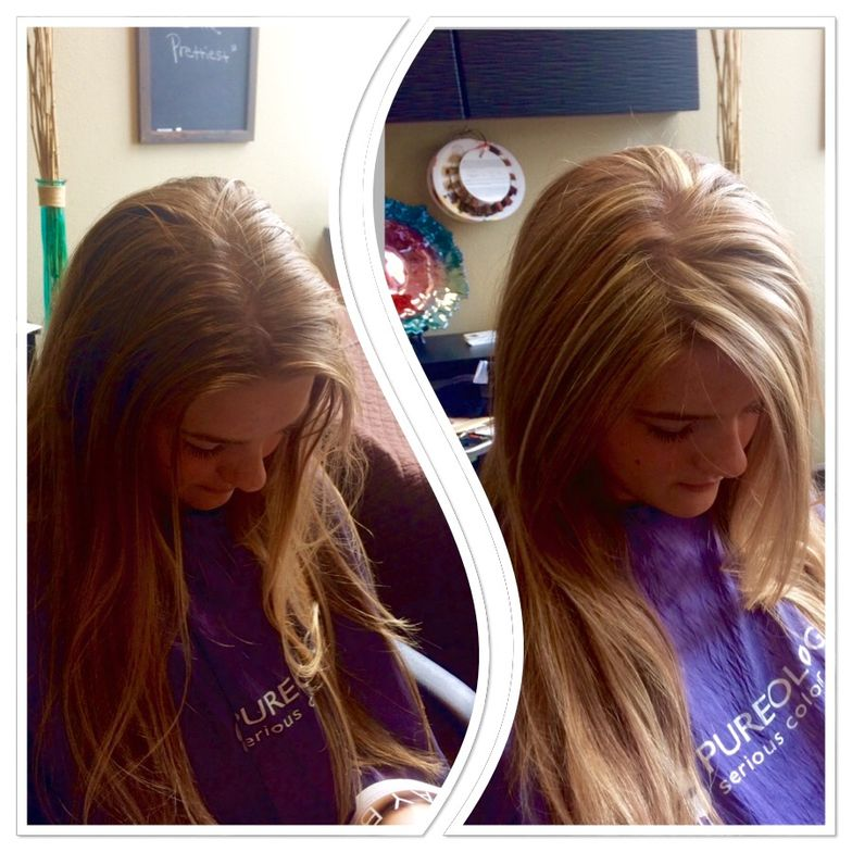 Before and after a highlighting service by Natalie Beri, who charges $85 for partial highlights.