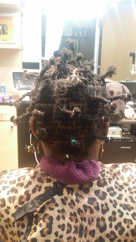 Day two of a Sisterlocks installation. Almost done!