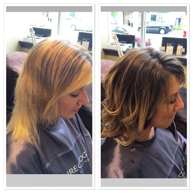 Over-blonded hair looks much healthier brought closer to natural. Hair by Natalie Beri.