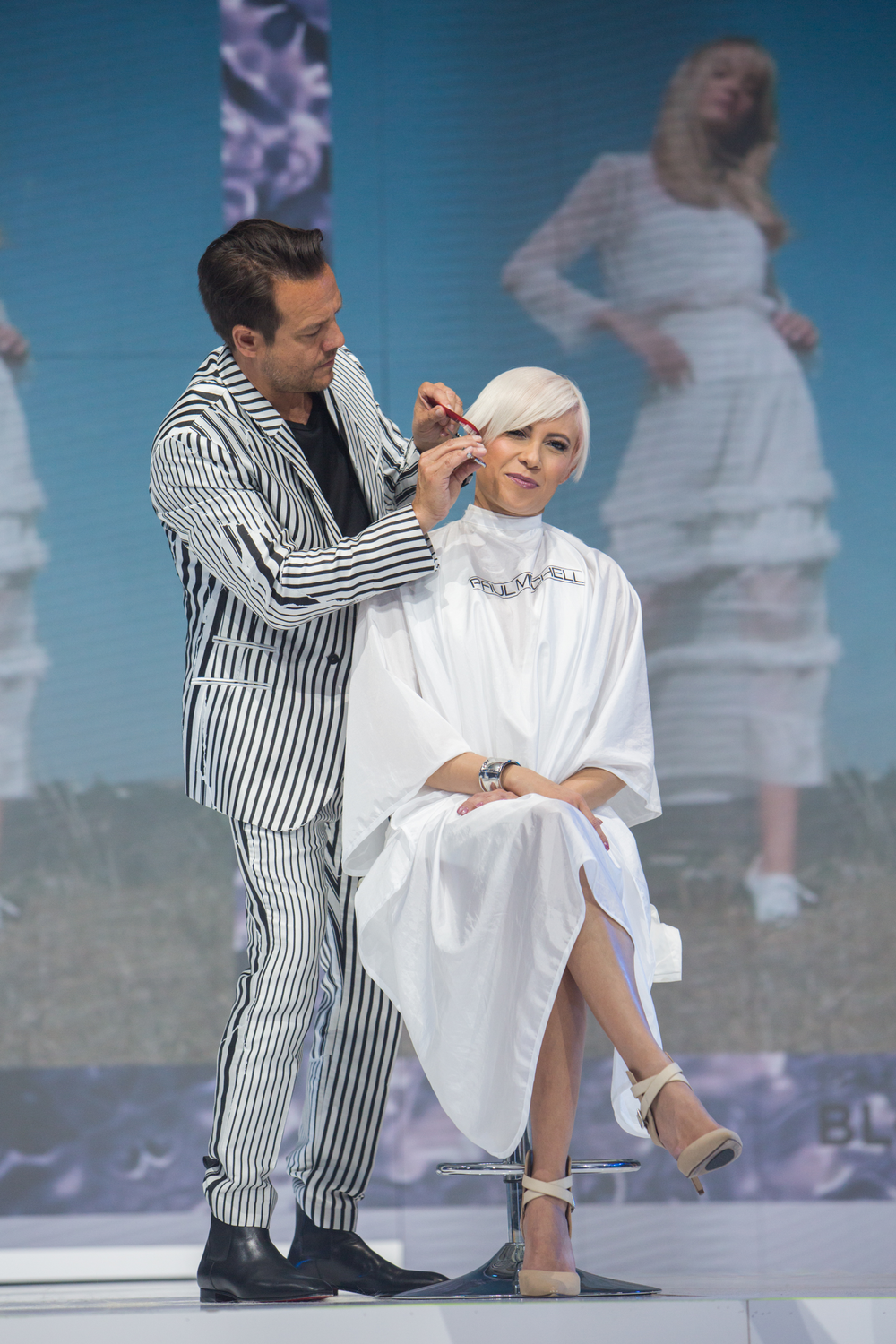 <p><em>Angus Mitchell co-owner and artistic director of education for John Paul Mitchell</em> <em>Systems creates onstage.</em></p>
