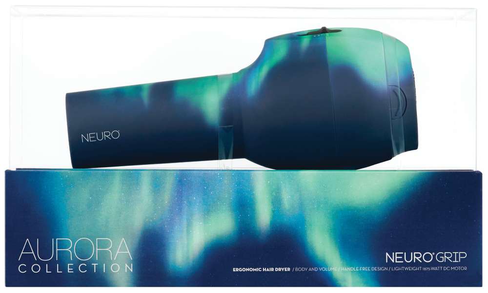 The <strong>Aurora Neuro Grip Drye</strong>r by <strong>John Paul Mitchell Systems</strong> is handle-less, controls heat and air separately and weighs only one pound.