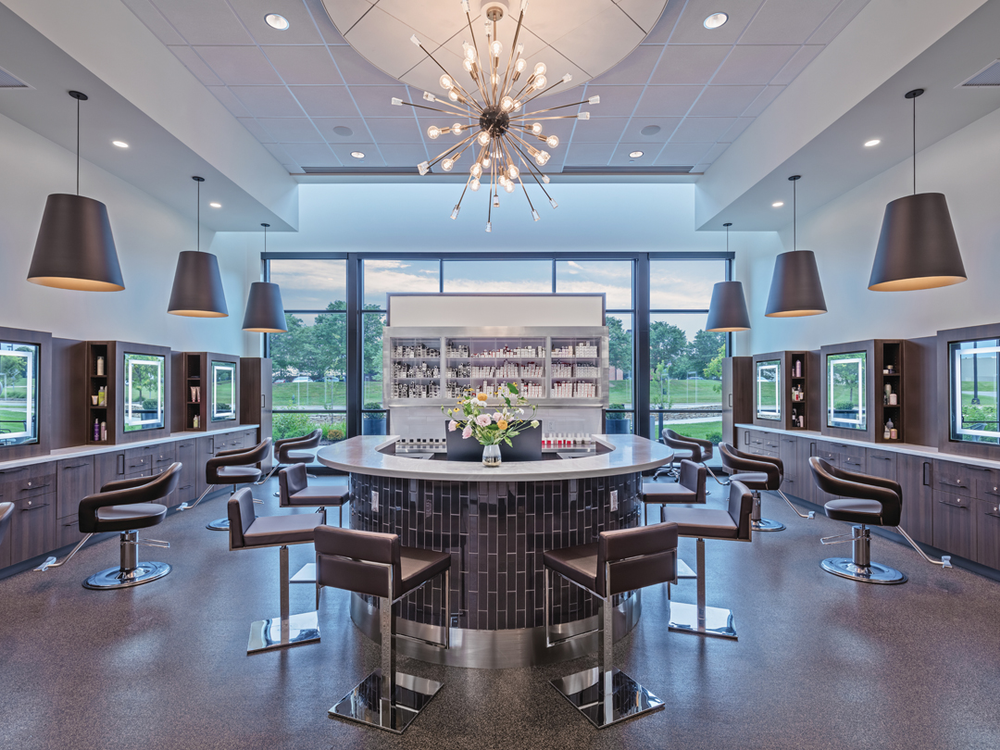 The salon's color bar is located in one of the salon's five hair zones.