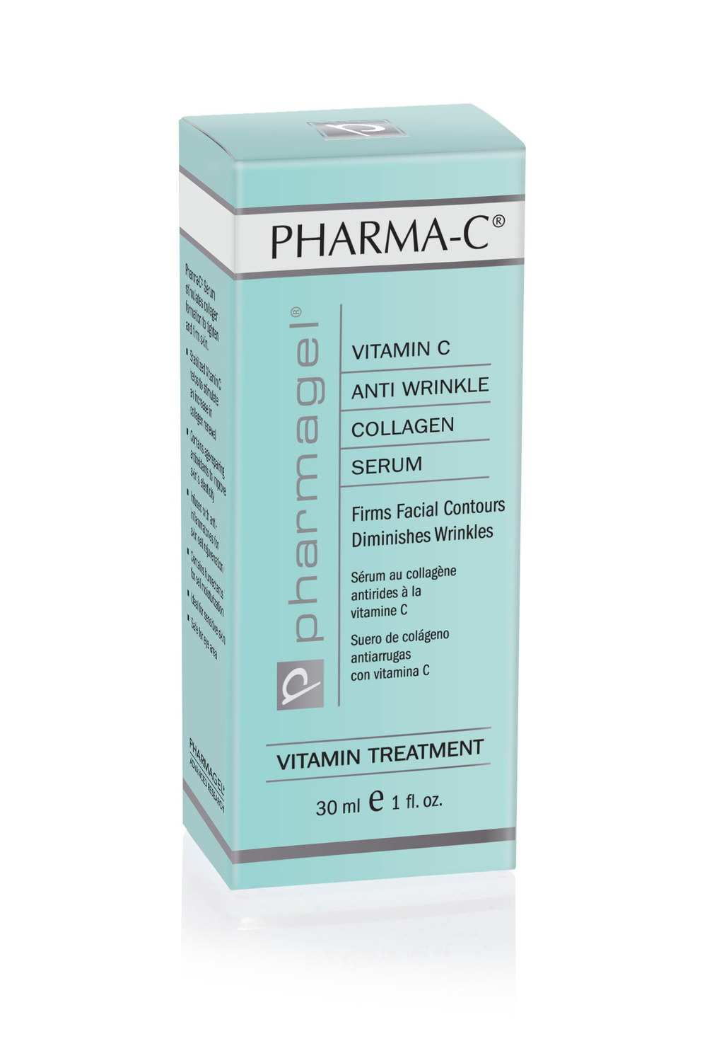 PHARMA-C SERUM  This unique serum enhances and accelerates skin's repair by actively promoting collagen formation. Pharmagel's unique PHARMA-C SERUM has a 10% level of all botanical Magnesium Ascorbyl Phosphate (stabilized Vitamin C). This ingredient is the only stable source of Vitamin C that has been scientifically proven to rapidly absorb into the skin and promote the formation of collagen. Fragrance-free and oil-free, it can be used safely around the eyes.