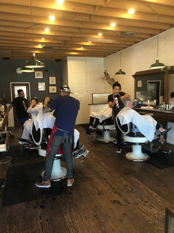 Inside the Baxter Finley Barbershop in West Hollywood.