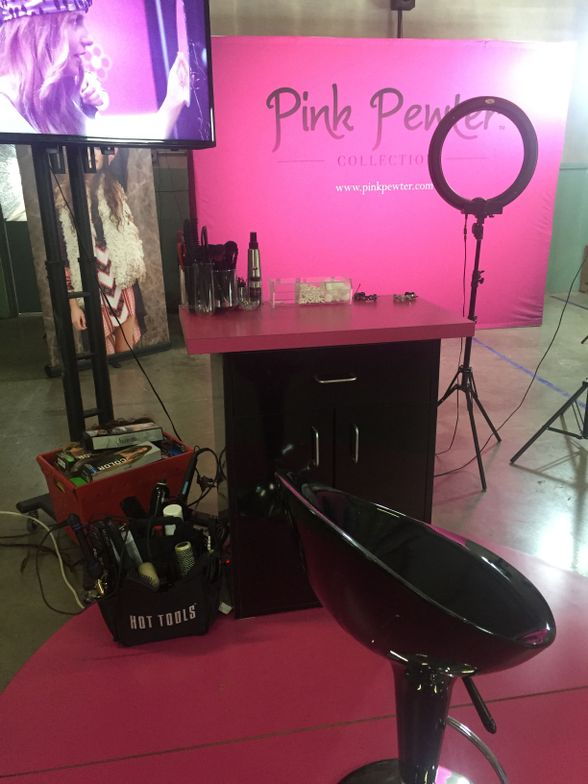 Pink Pewter turned its warehouse into a hair and makeup studio for the afternoon.