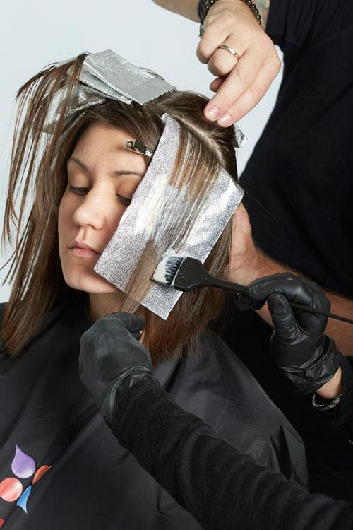 5. Continue by placing foils diagonally along the face.