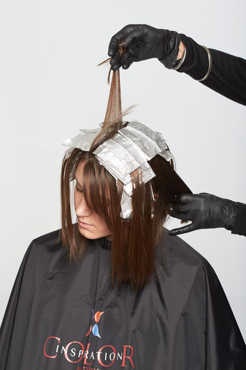 6. Continue to place highlights in foils throughout the top and front in the same manner.
