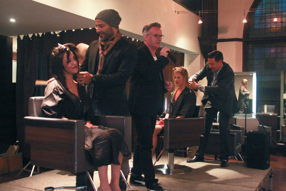 Israel Kronk of Bangz and Vito Mazza of Vito Mazza Salon and Spa, both owners who had never cut hair, learned how to cut a one-length bob and executed it onstage to represent the value of stepping out of your comfort zone.