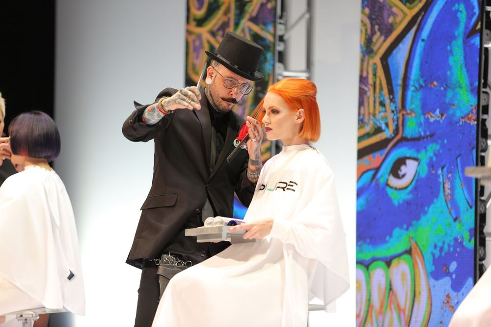 <p>The team from Pyure Salon orchestrates a vibrant hair presentation to wrap the first day.</p>