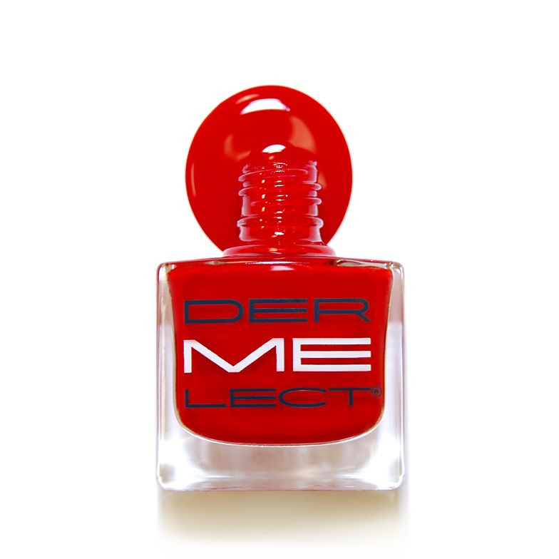 """Celebrity nail tech Elle thinks the perfect date night nail should reflect your client's personality: a classic red for the glamour girl; a light, translucent pink for the sweetheart; and an edgy crimson red for the vixen.Elle recommends Dermelect's """"red-iculous"""" (shown) for her go-to classic red."""