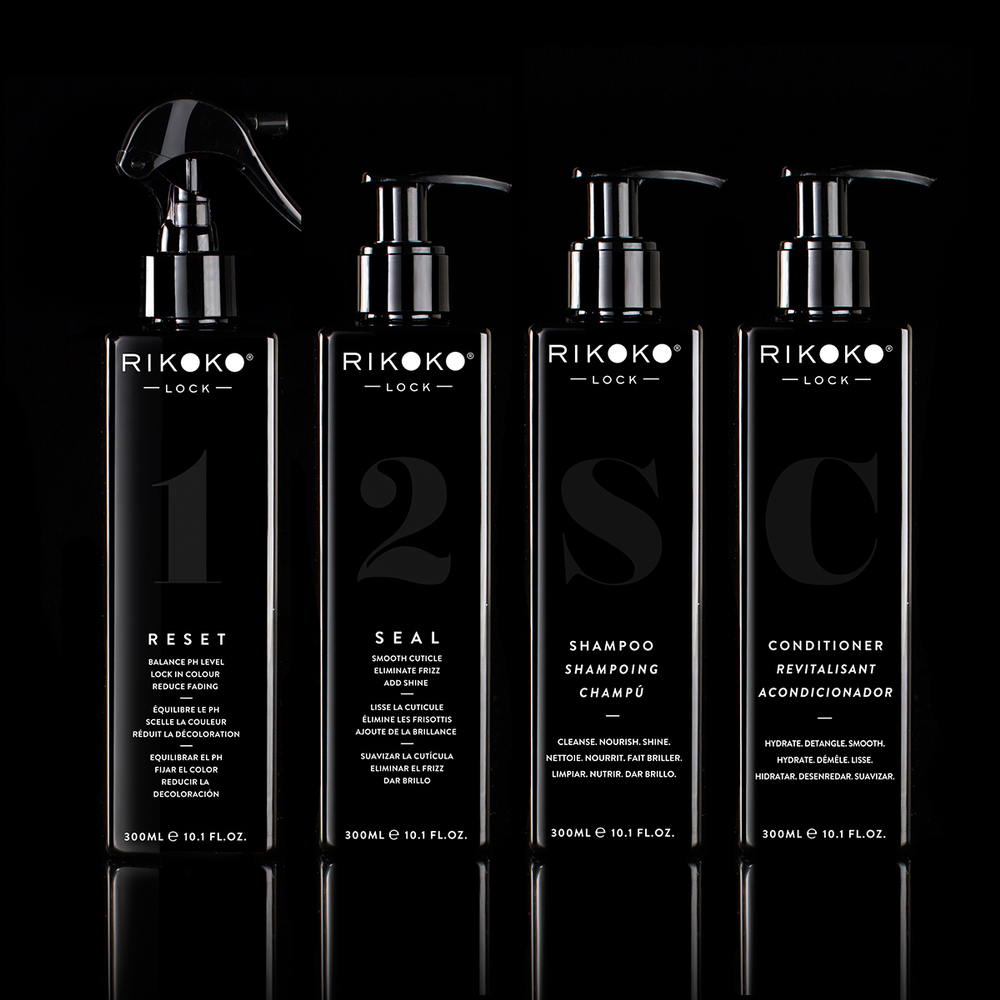 The Rikoko Lock Collection includes Shampoo, Conditioner and Reset and Seal backbar treatments.