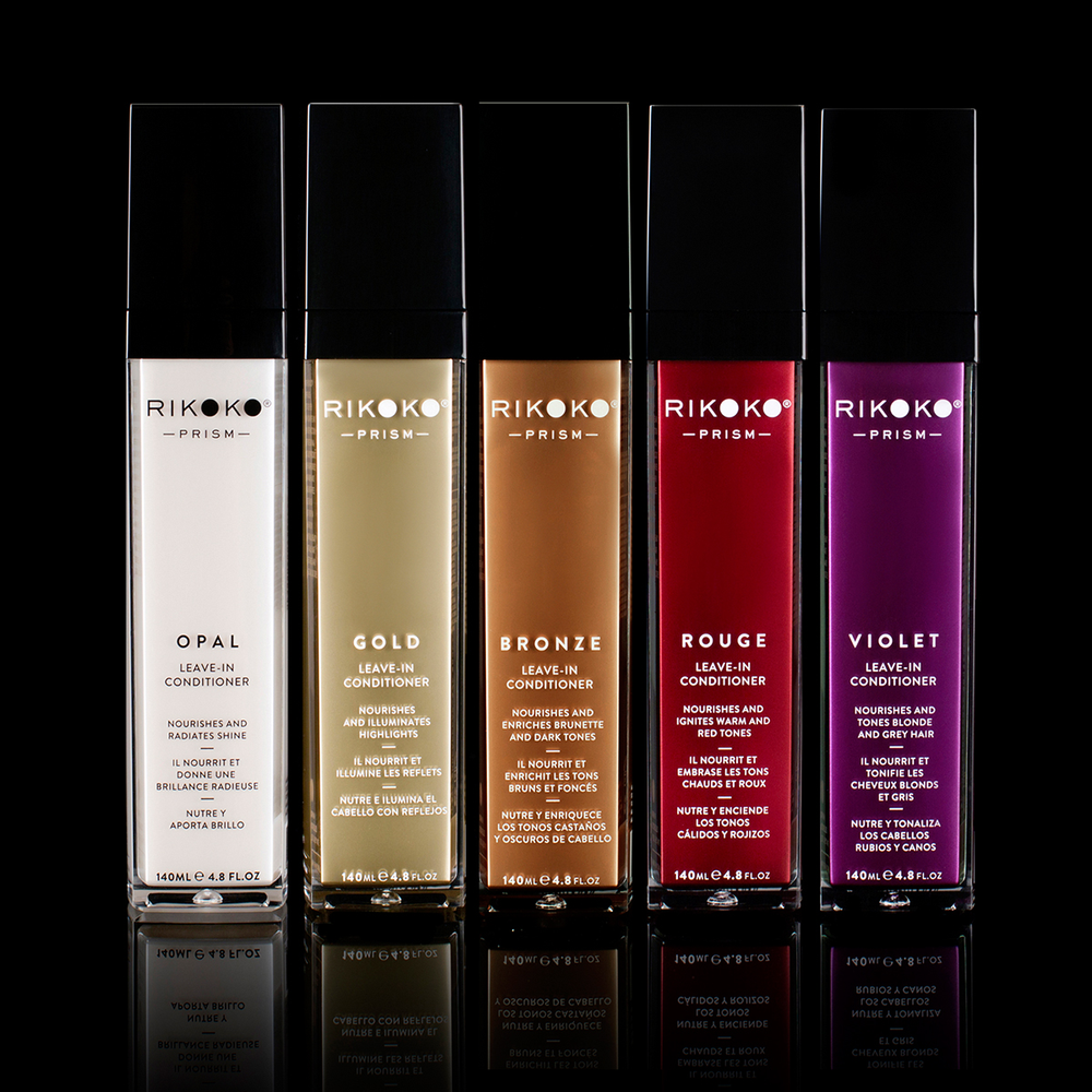 Rikoko Prism Leave-In Conditioners come in Opal, Gold, Bronze, Rouge and Violet to meet the needs of all color-treated and natural hair types.