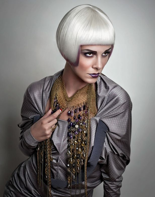 Color: Rusk Flashes Purple Burst Scream with Silent Neutral - Styling: Mist Rusk W8less 12 in 1 Miracle Leave-In Treatment to smooth and protect before blowing smooth.