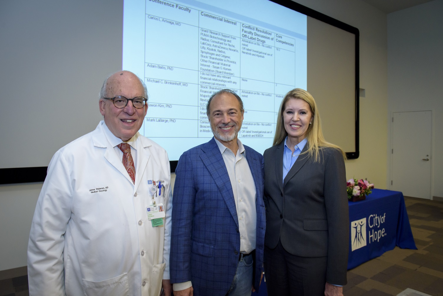 From left to right: James R. Waisman, M.D., Clinical Professor in the Department of Medical Oncology & Therapeutics Research at City of Hope; Michael Brinkenhoff, M.D., Founder & CEO, RevitaLash Cosmetics; Linda Malkas, Ph.D., Deputy Director of Basic Research, Comprehensive Cancer Center at City of Hope