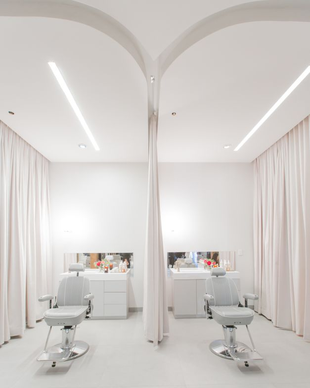 Sound-reducing drapes bring privacy to the treatment rooms.