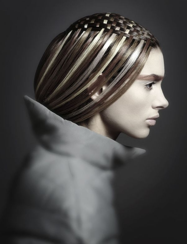"""""""In this image the model had medium-length hair, and Iwanted it to resemble a side-swept fringe in the front,""""Roche says. """"I used both warm and cool blonde tones inthe hair that was woven through her own hair."""""""