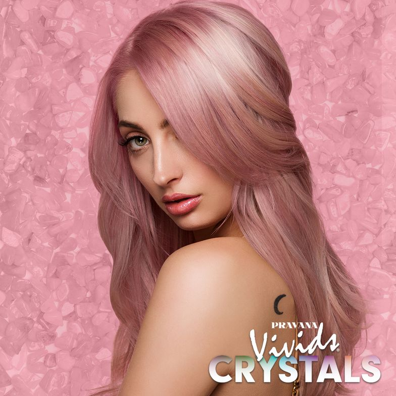 ROSE QUARTZ: Healing crystal known for love, happiness and balance.Starting level 10 and VIVIDS Rose Quartz applied directly at root, 3 parts VIVIDS Rose Quartz and 1 part VIVIDS Clear applied to ends.