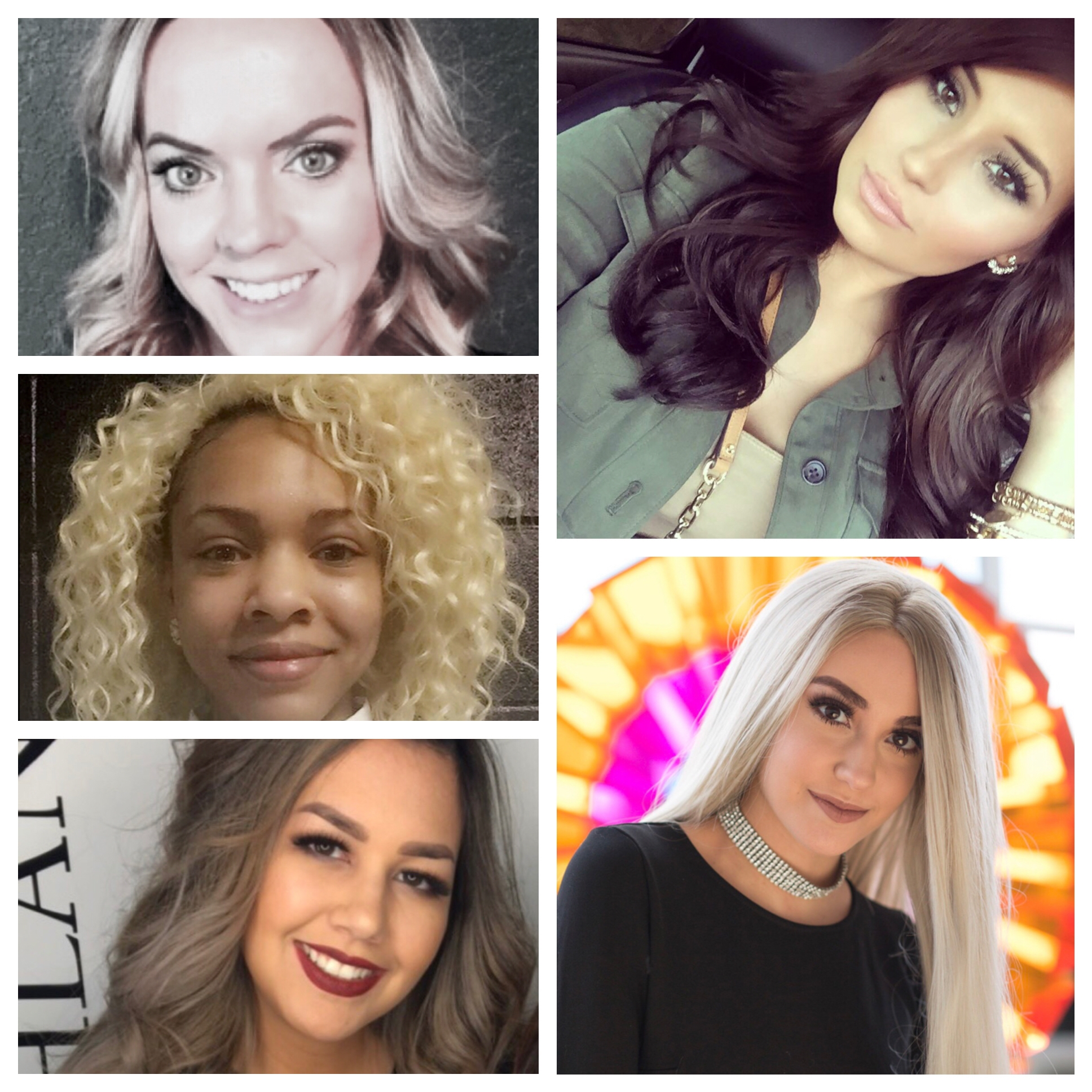 Clockwise from top left: Melissa Pavel, Taylor Watts, Rachel Daloise, Alexandra Aaron and Rician Walker are scholarships winners with Rosy Rewards.