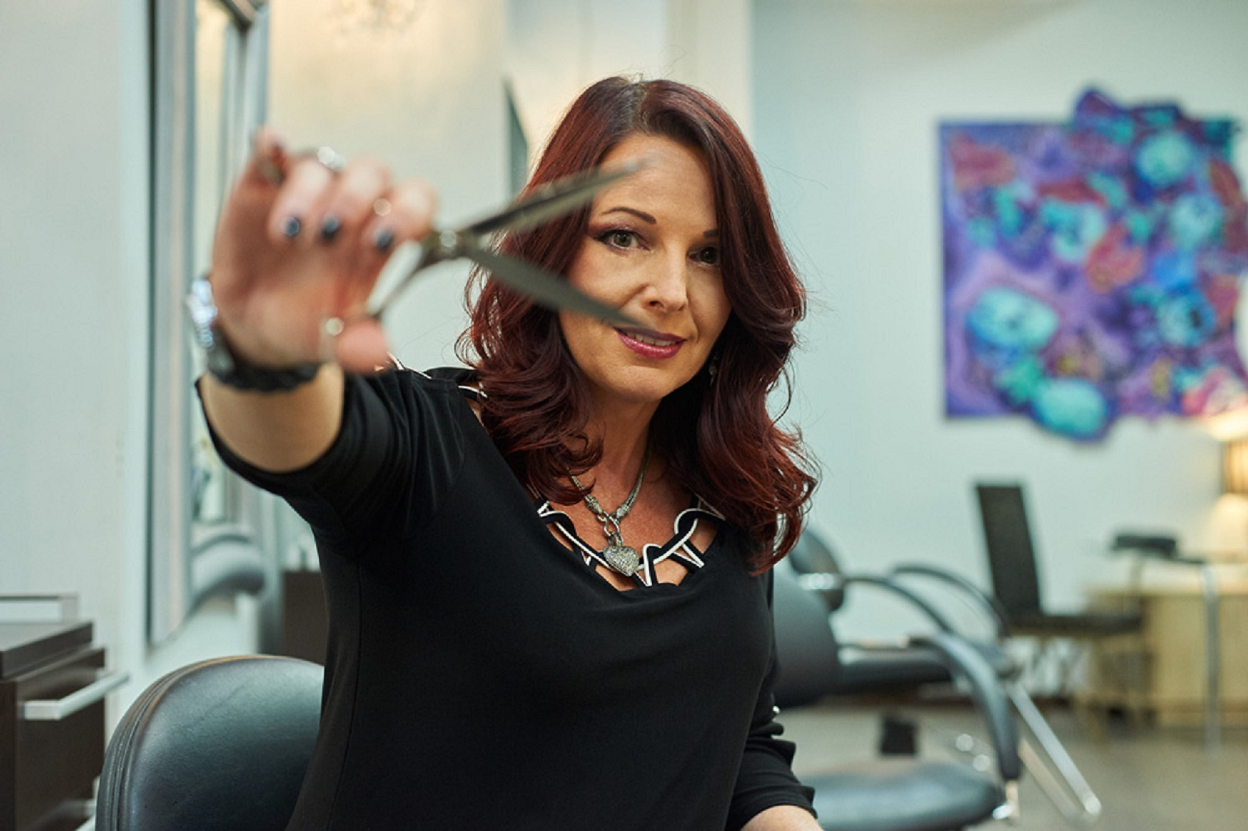 Rowena Yeager, owner of Studio Wish Salon in Twinsburg, Ohio, and her team retain clients with their talented shears.