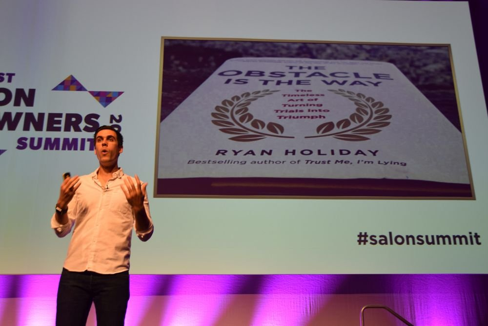 Ryan Holiday, author of <em>The Ostacle is the Way, </em>pulled examples from history to teach the audience about stoic optimism.