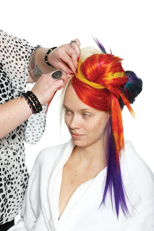 9. Continue to mix and match wefts, allowing some wefts to drape.