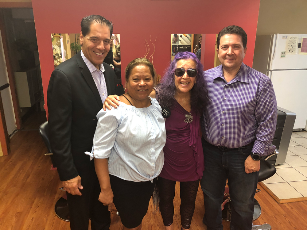 Joe  Mastalia, Xenia Danko, Sandra  Ramos and Louis  Benevento at the  grand opening of SOS Salon in Wanaque,  NJ.