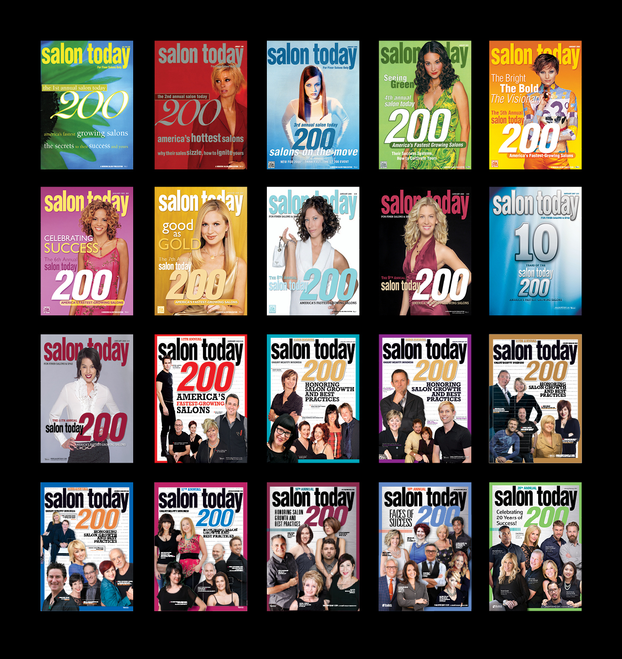 20 years of Salon Today 200 covers.