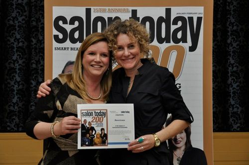 Jenny Grisham (right) owner of Americana Salon in Alpine, Texas, was one of 72 SALON TODAY 200 honorees to accept her certificate from Stacey Soble at the reception.