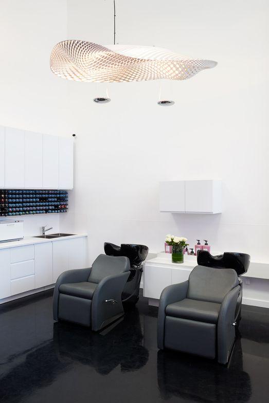 The entire salon is voice-activated through Amazon's Alexa.