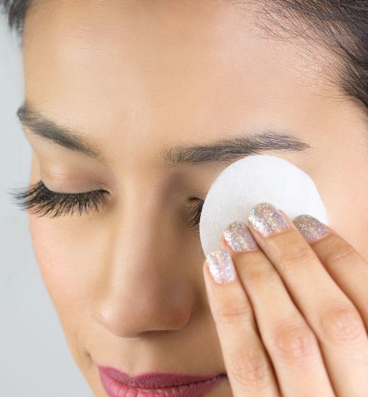 STEP 1: Using NovaLash cleanLASH, wipe off make-up.
