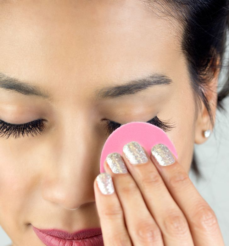 STEP 5: Using the back of the used cleanLASH pad, moisturize the lashes and eyelids.