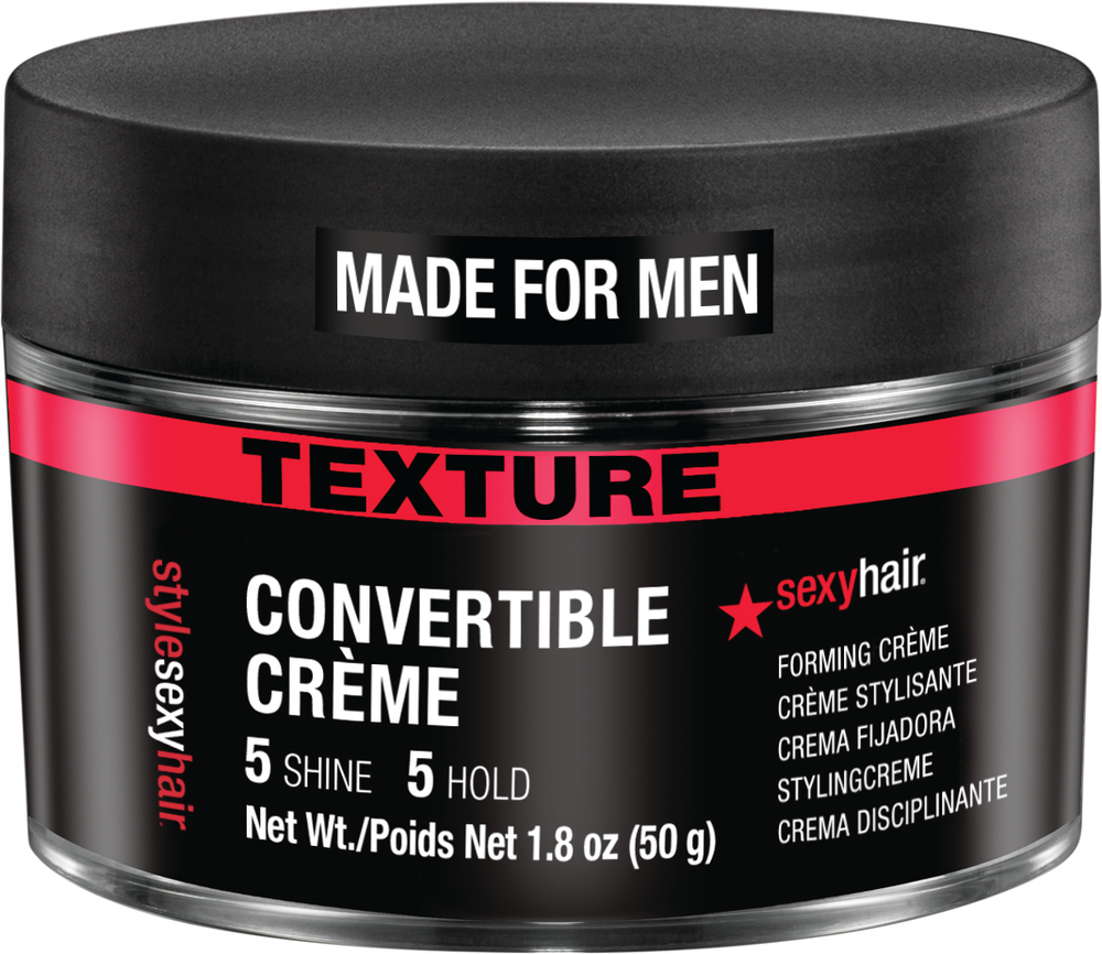 <p><strong>Here's a new way to control and hold men's hair--Style Sexy Hair Convertible Crème.</strong></p>