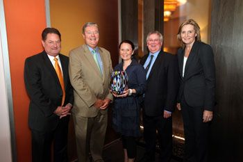 From left: Kevin Van Nest of Van Nest Coleman; Gary Winterhalter, chairman and CEO, Sally Beauty Holdings; Victoria Rainey Fishman, vice president, and John Rainey, president of Denman, Inc. and Linda Voracek, vice president, merchandising, Sally Beauty Supply.