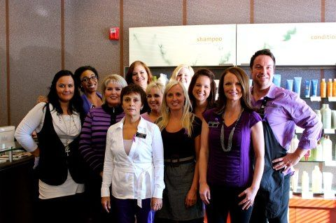 The staff of Salon Medusa rocking their purple on CUT IT OUT day.