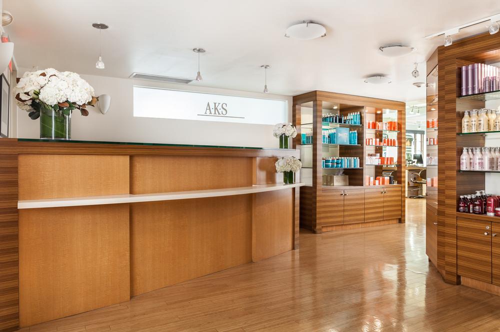 Salon AKS' reception area, the hub of this busy salon.