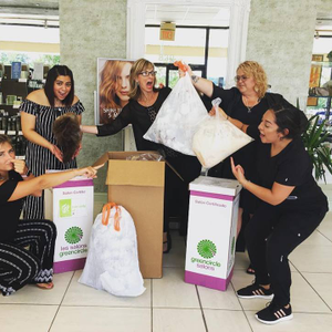 The team from Salon Secrets Spa in Kennett Square, Pennsylvania, collecting salon waste with...