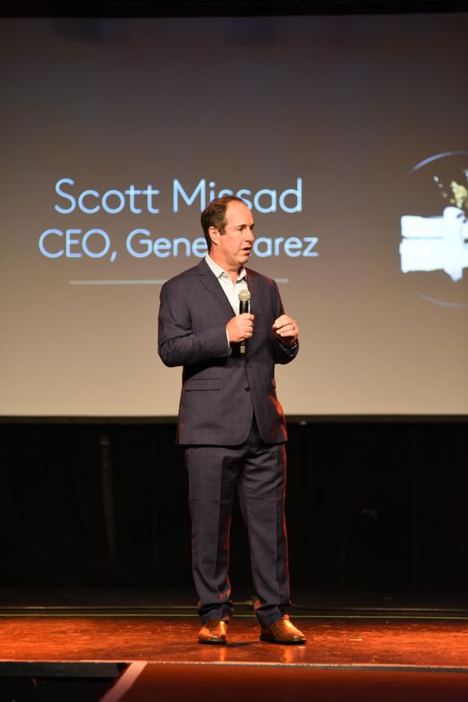 Gene Juarez CEO Scott Missad welcomes his employees to the runway show celebrating the salon's new partnership with Rene Furterer.