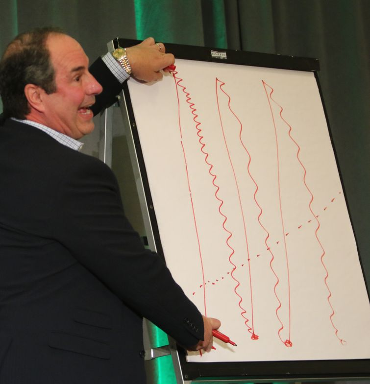 <p>Talking about maximizing staff performance, Gene Juarez&#39;s Scott Missad draws his own graph to illustrate the heights and valleys in staff enthusiasm after a hair show.</p>