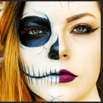 Boo! Half Skull Halloween Makeup
