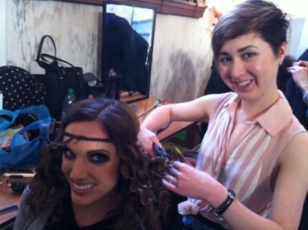 Young Talent winner Rachel Carr at work backstage