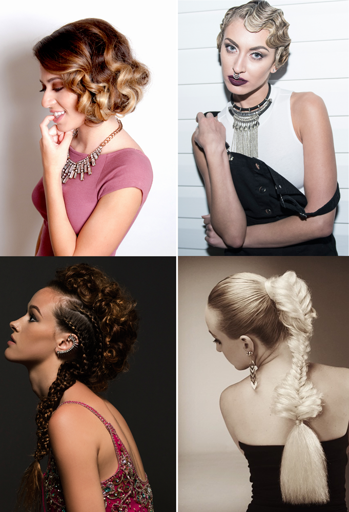 Faux bob by Jessica Domoney, faux pixie by Meaghan Masterson, faux hawk by Sarah Vondracek and faux-nytail by Dawn Atkinson.