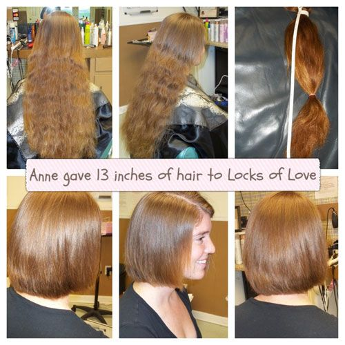 Anne donated 13 inches of her hair she had been growing out to the Locks of Love&#59; walking out with a GREAT new look, while giving to a wonderful cause at the same time.