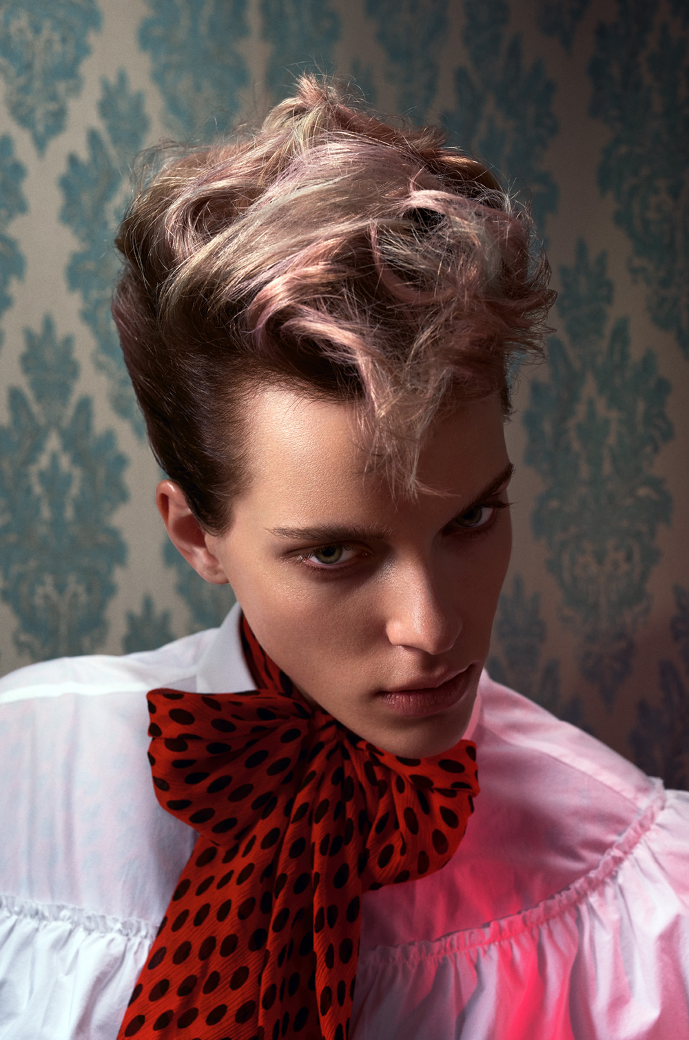 A twist on the faux hawk shows off the subtle dimension in this color. Color: Edoardo Paludo, Schwarzkopf Professional color experimentalist; cut: Tyler Johnston, Schwarzkopf Professional editorial stylist