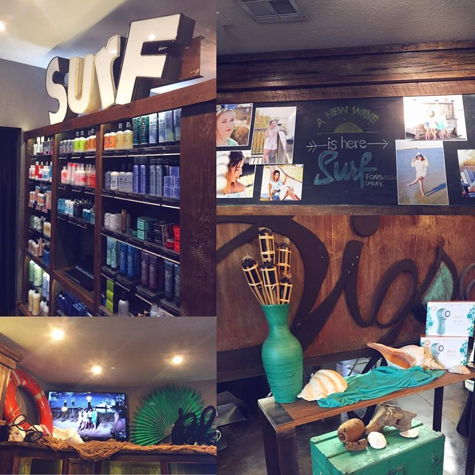 A collage of retail displays at Signatures Salon in Lake Charles, LA.