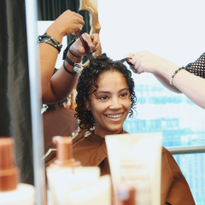 Sinead Bovell getting some Mizani #TextureLove prep for NYFW at the VIP Salon at the L'OREAL...