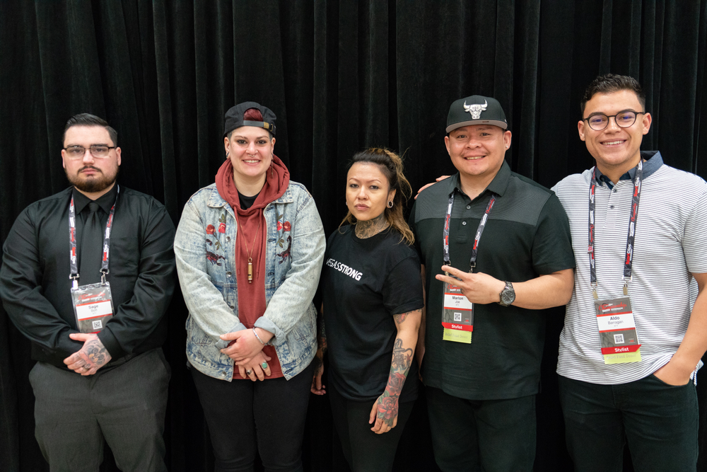 """Sport Clips Haircuts' """"The Look – Student Competition"""" winners (left to right) Sage Bott, Hannah Kacere, Rica Arenas, and Aldo Barragan."""