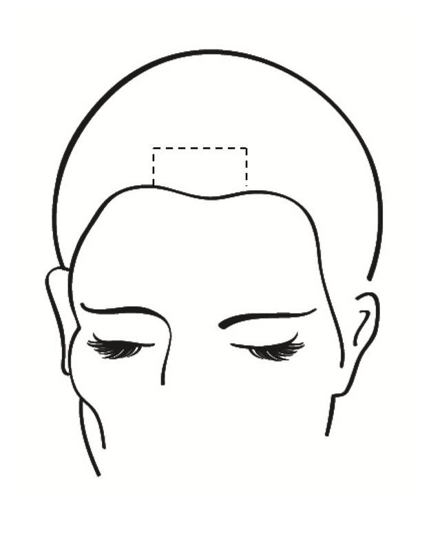 <strong>Step 2A:</strong> From where your client parts their hair, leave two inches wide and two inches deep on either side of the part. This will not be colored, this will be toned later with the ColorLush Silver Formula.