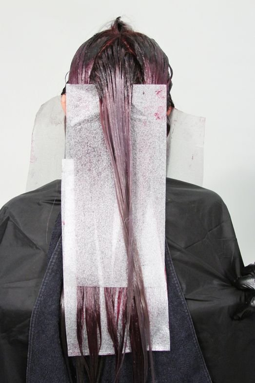 <strong>Step 5A:</strong> Moving to the back, apply ColorLush Silver Formula to the top section of your triangle.